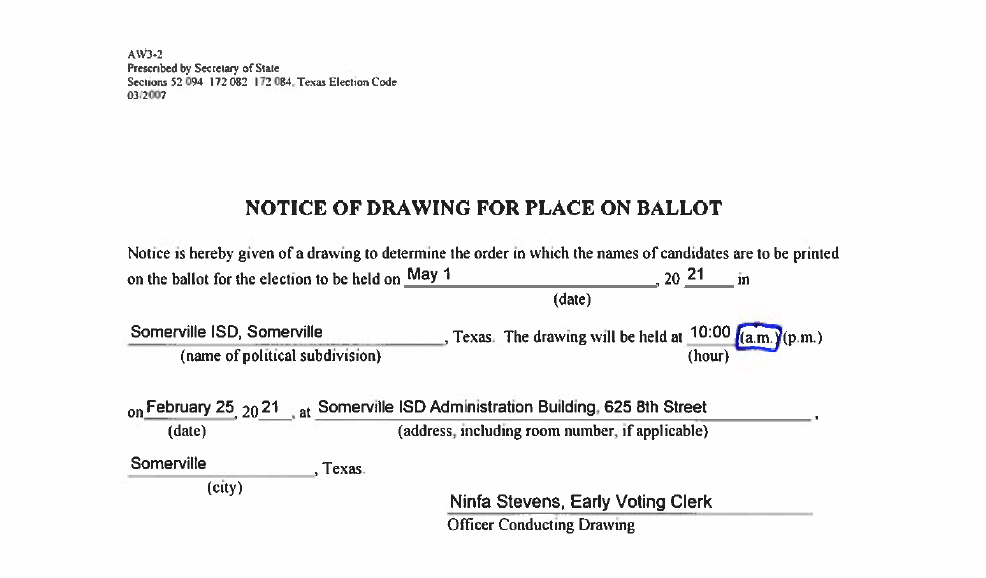 Ballot Drawing Notice