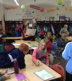 Students working on their classroom
