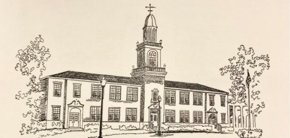 Drawing of Central High School from 1929