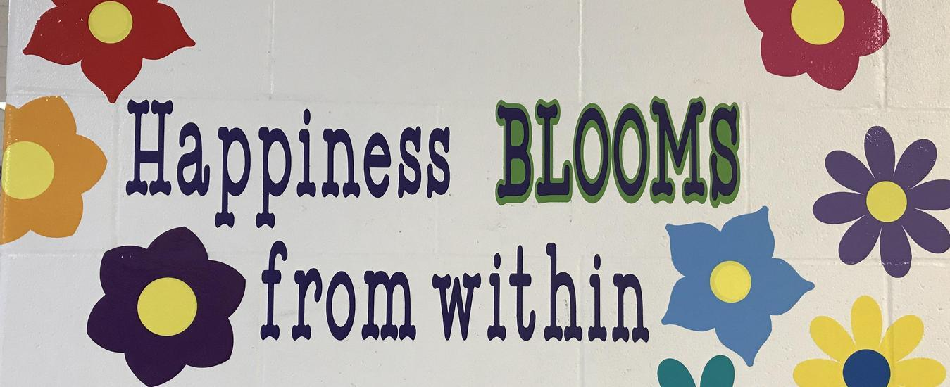 """""""Happiness Blooms from Within"""" mural"""