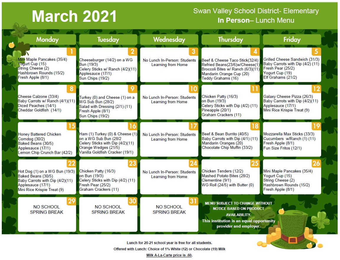 March 2021 Lunch Menu