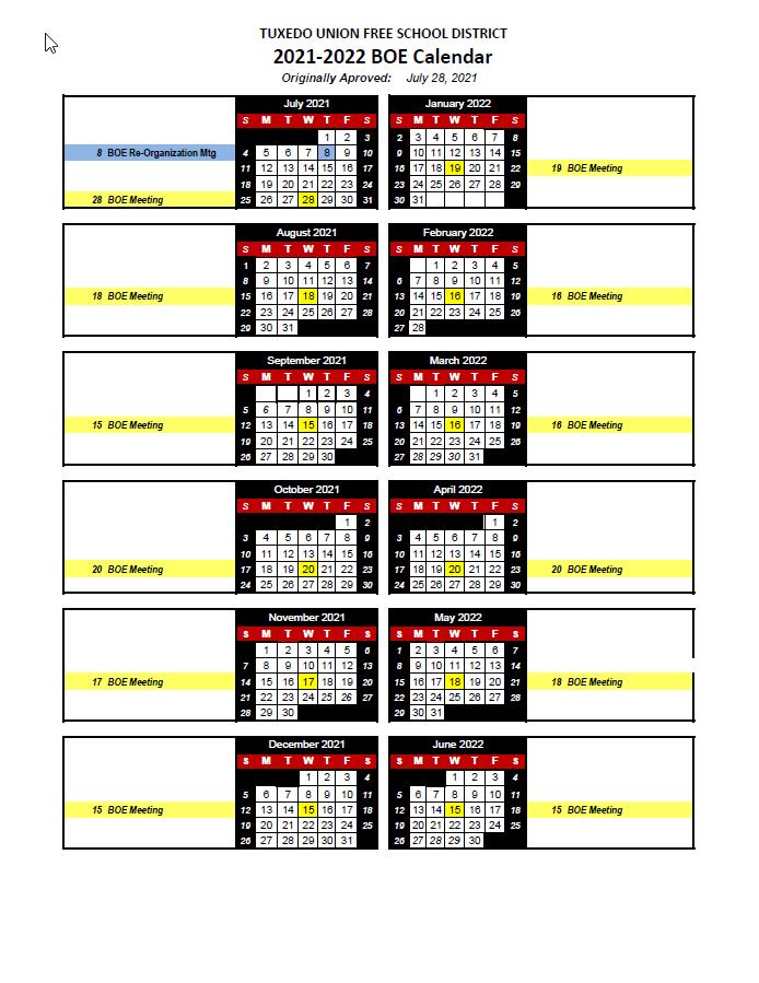 BOE Calendar 2021-22