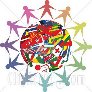 An image of the world with many flags and people silhouette around it.