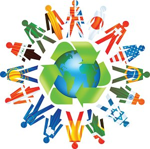 An image representing the recycling and unity of the countries.