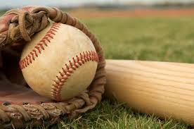 A photo of a glove, a bat and a baseball.