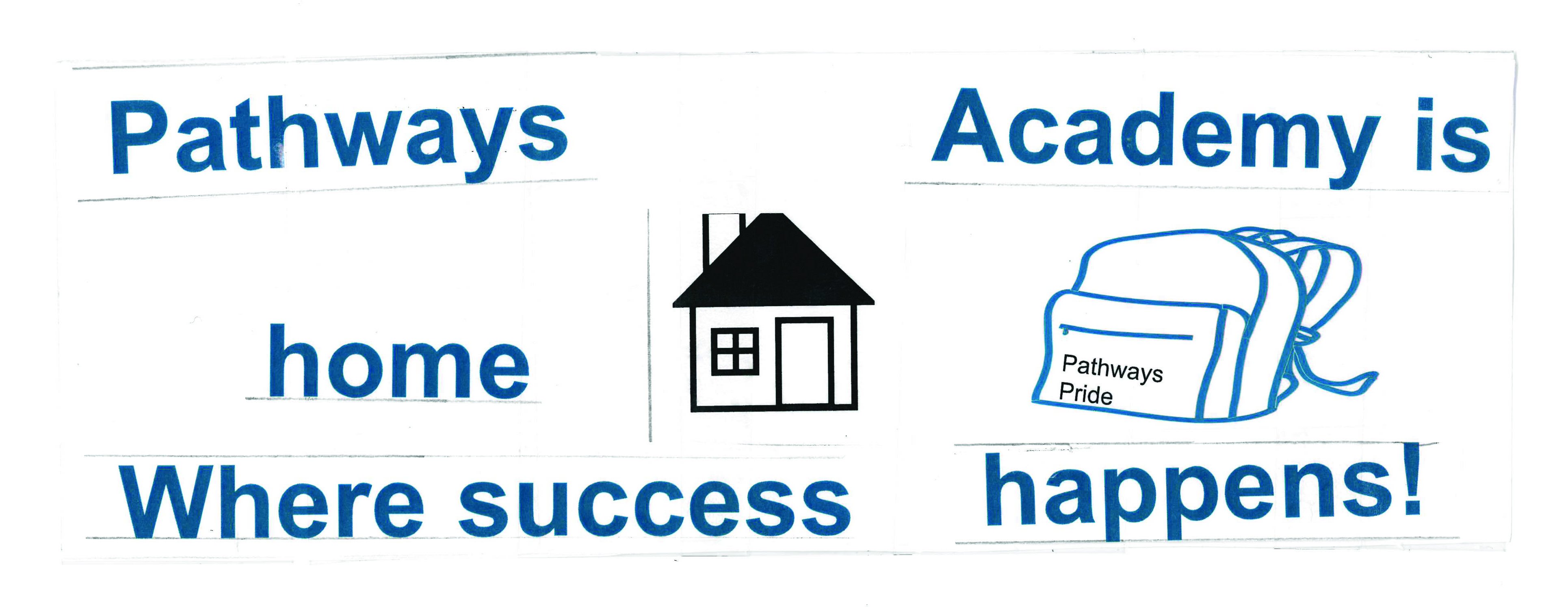 "A bumper sticker made by Pathays students showing house and backback illustrations and the words ""Pathways Academy is home, where success happens!"""