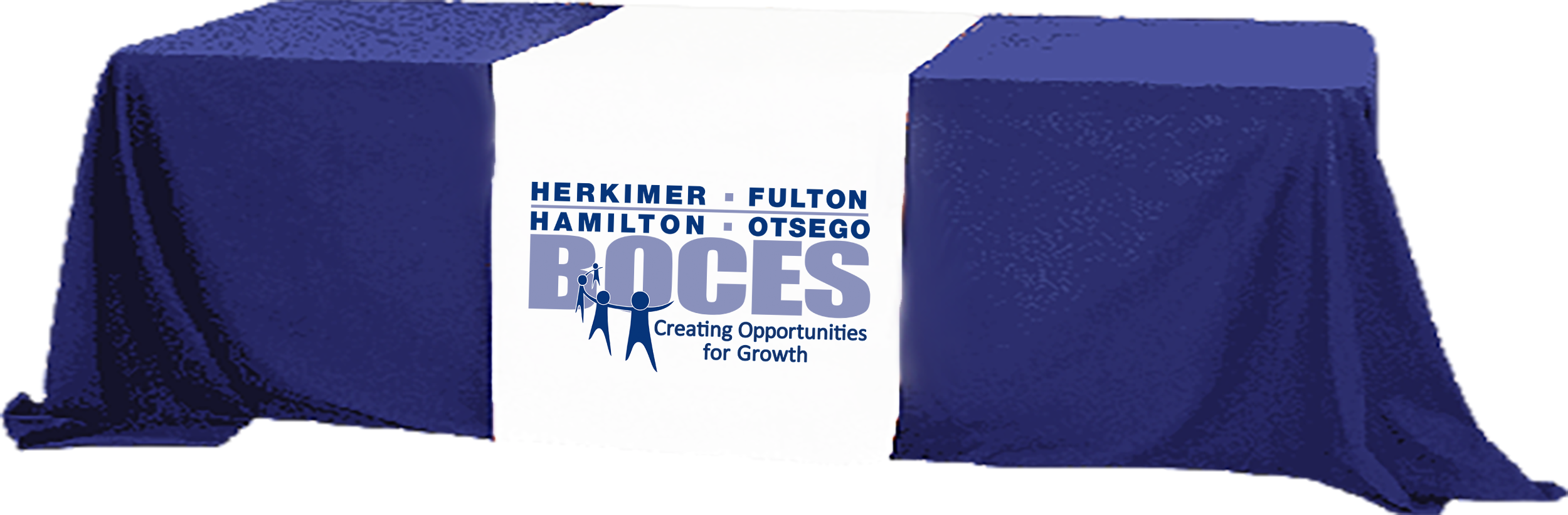 Herkimer BOCES logo on a table cover over a table image