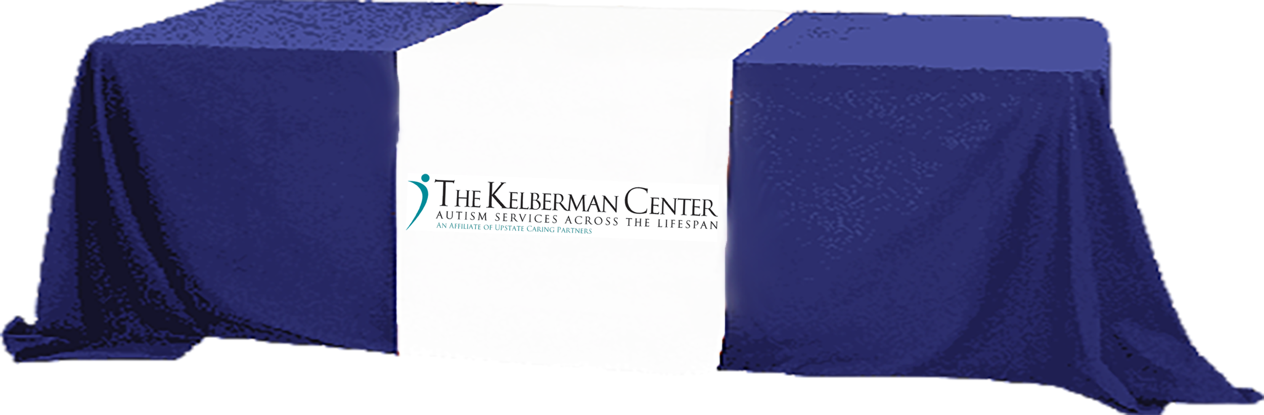 Kelberman Center logo on a table cover over a table image