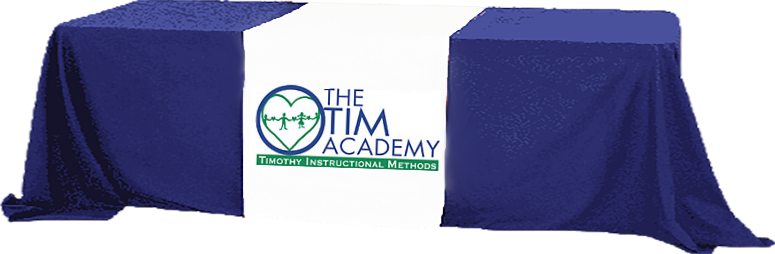 TIM Academy logo on a table cover over a table image