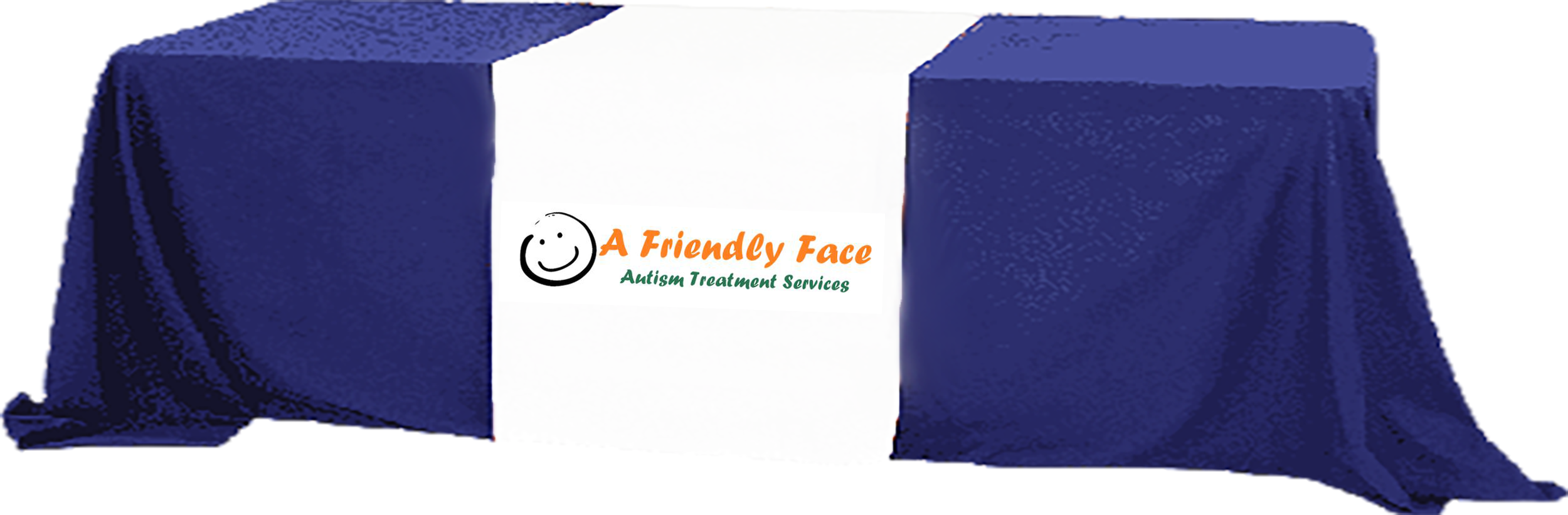 A Friendly Face logo on a table cover over a table image