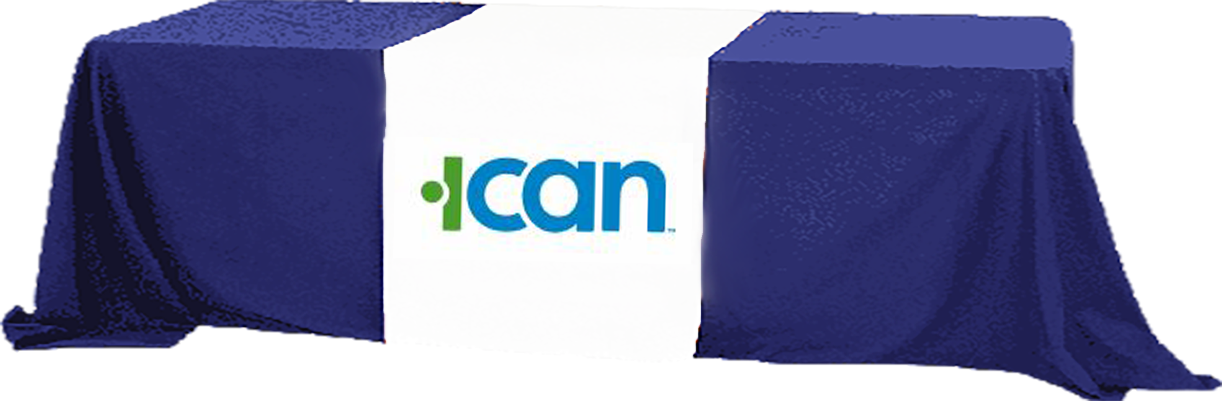 ICAN  logo on a table cover over a table image