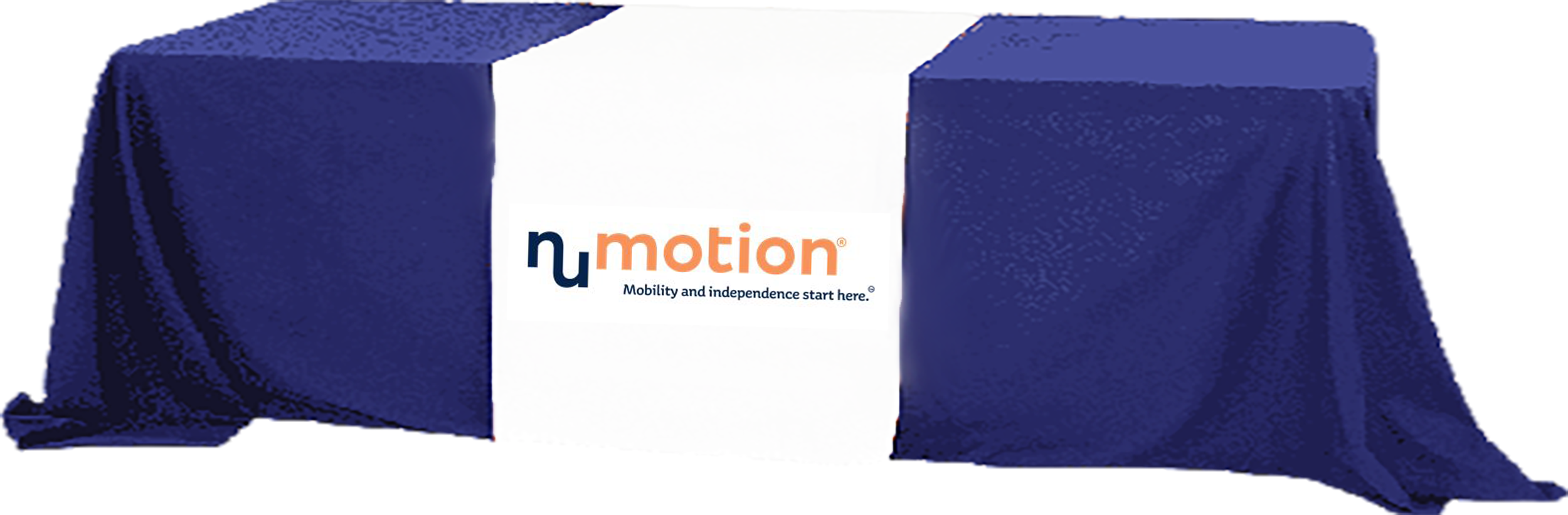 Numotion logo on a table cover over a table image