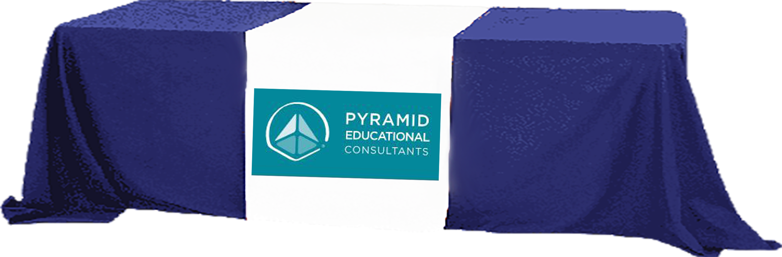 Pyramid logo on a table cover over a table image