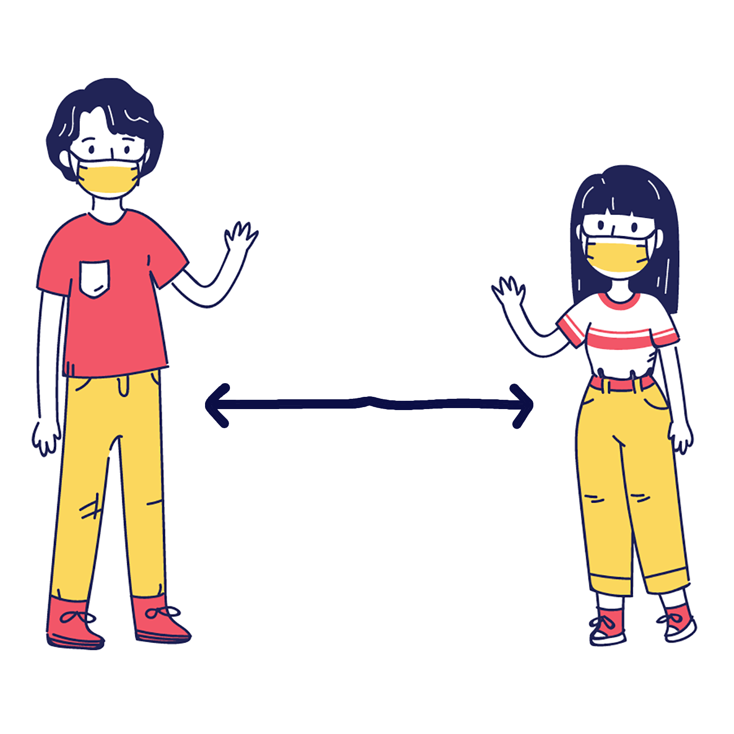 Illustration of a boy and girl social distancing with an arrow between them