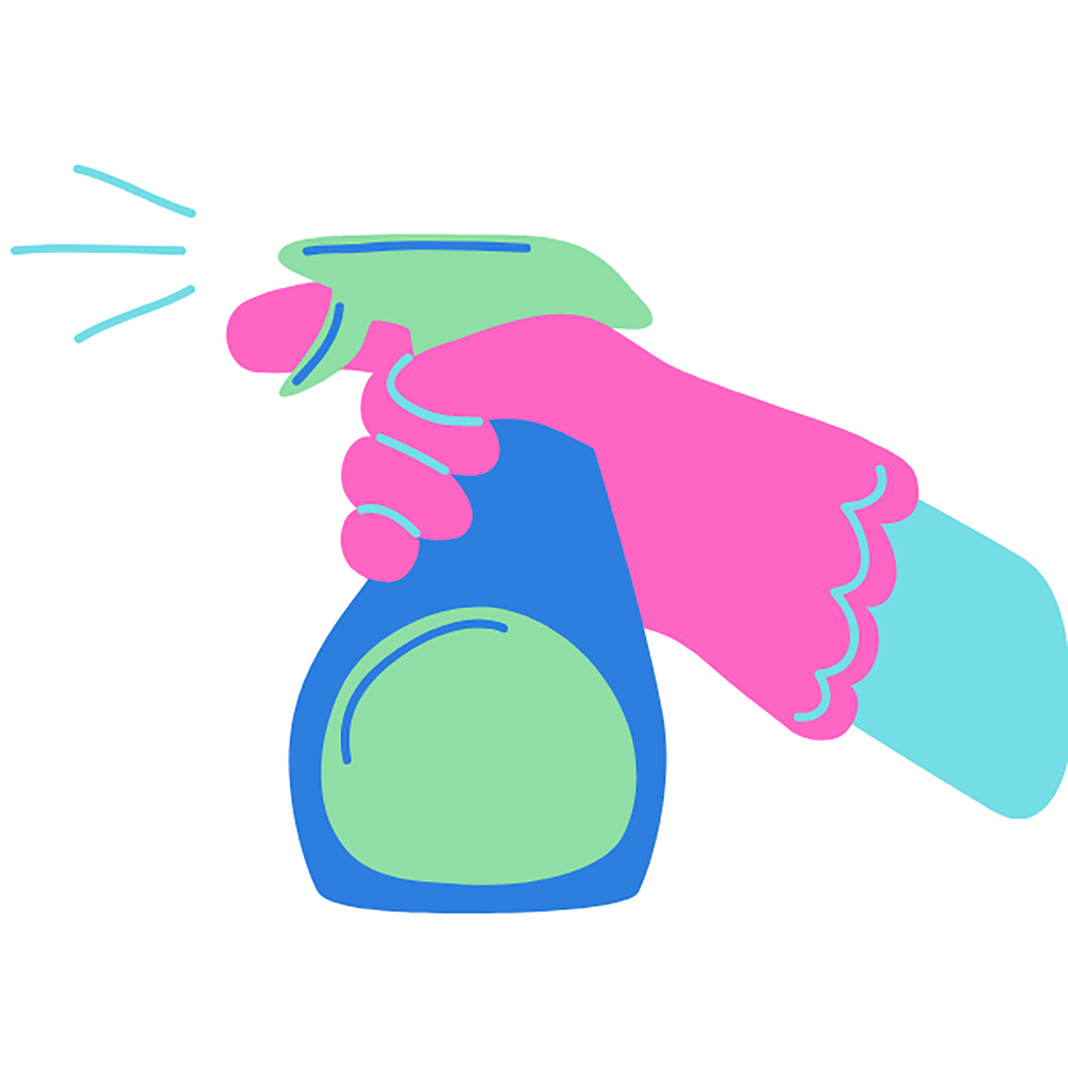Illustration of gloved hand holding cleaning spray and spraying it