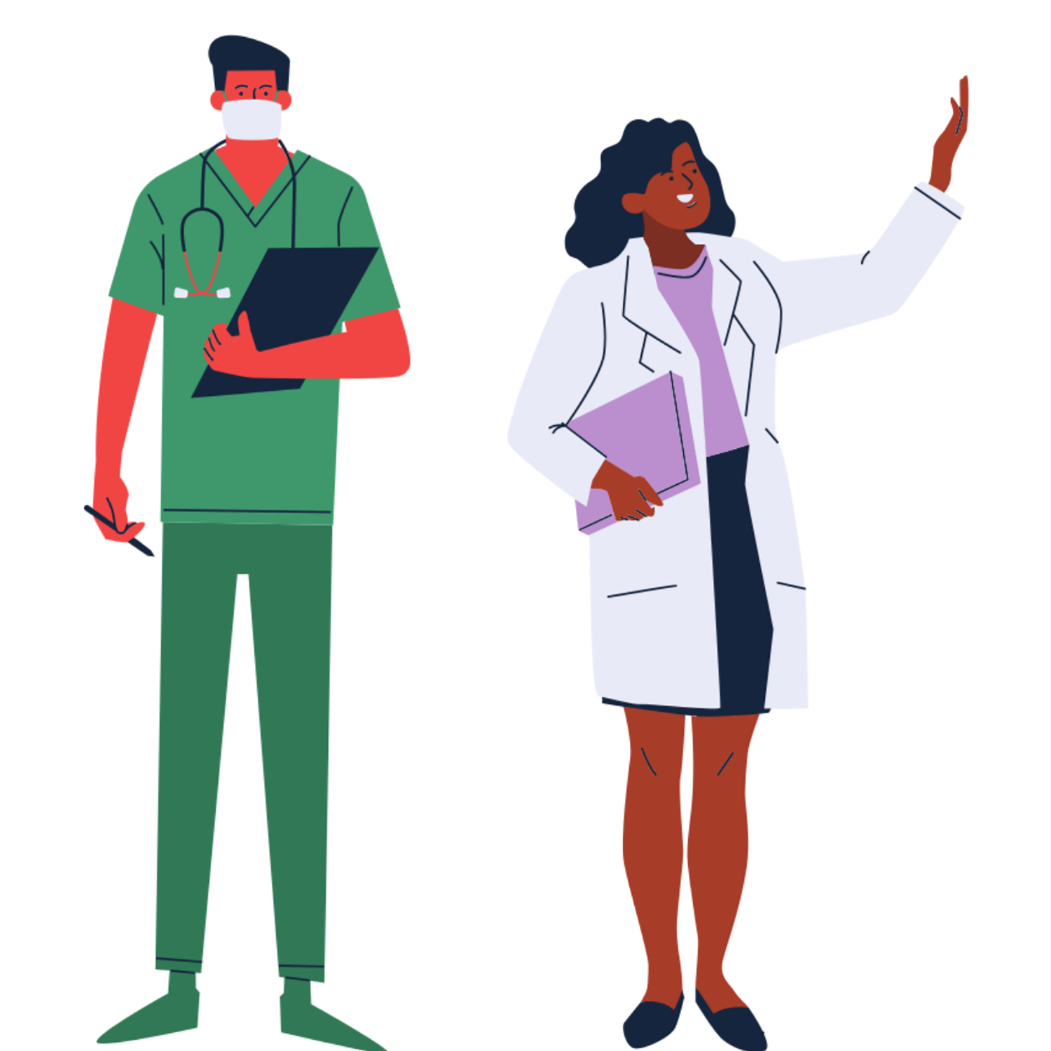 Illustrations of two doctors