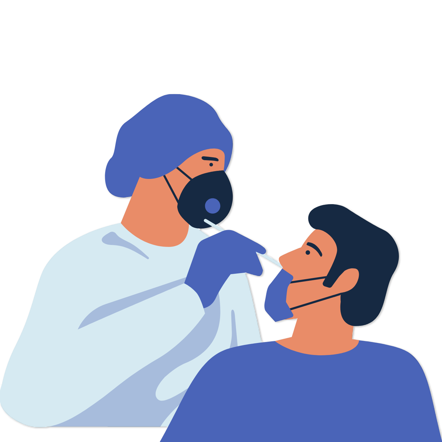 Illustration of a doctor giving a patient a COVID test