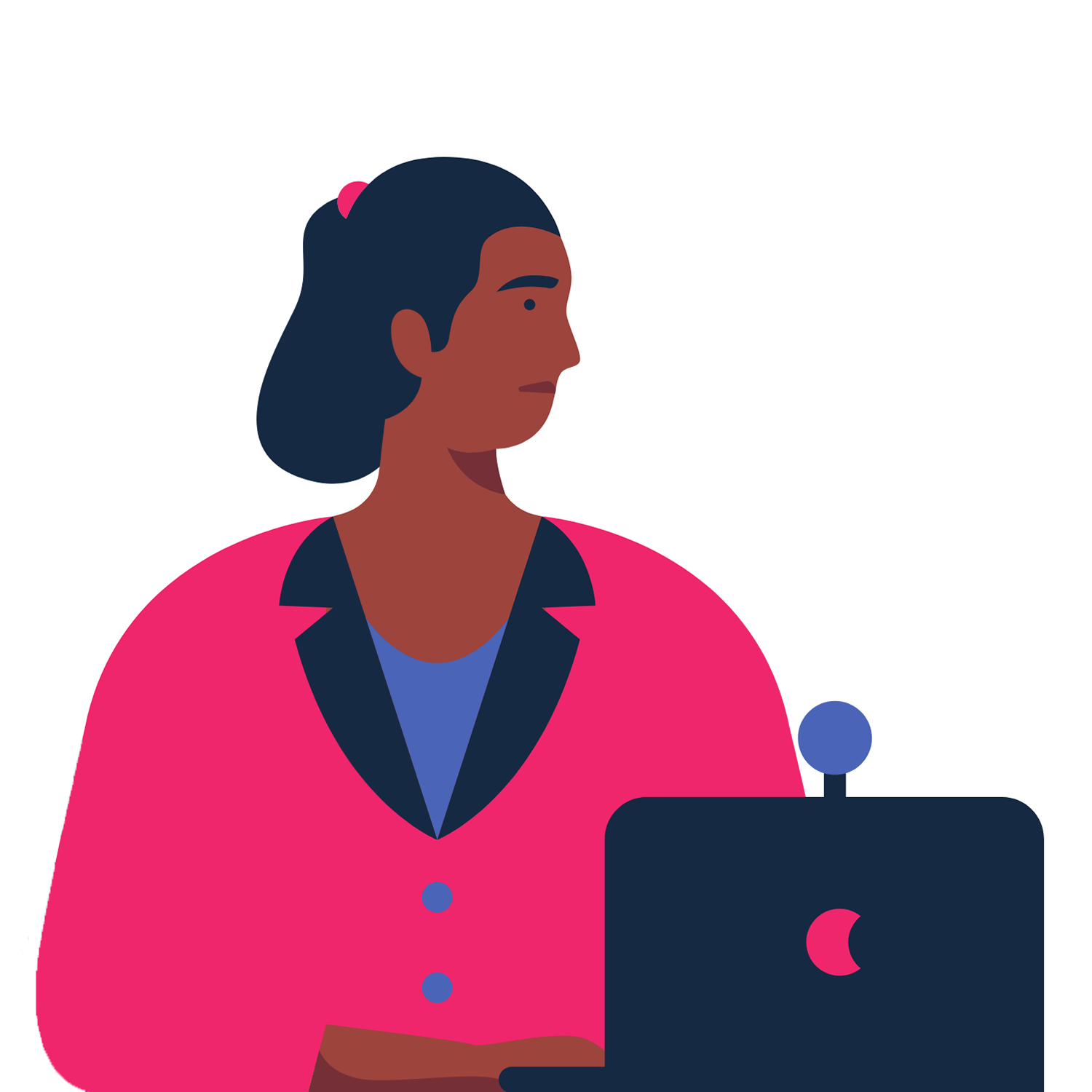 Illustration of a person talking through a computer screen