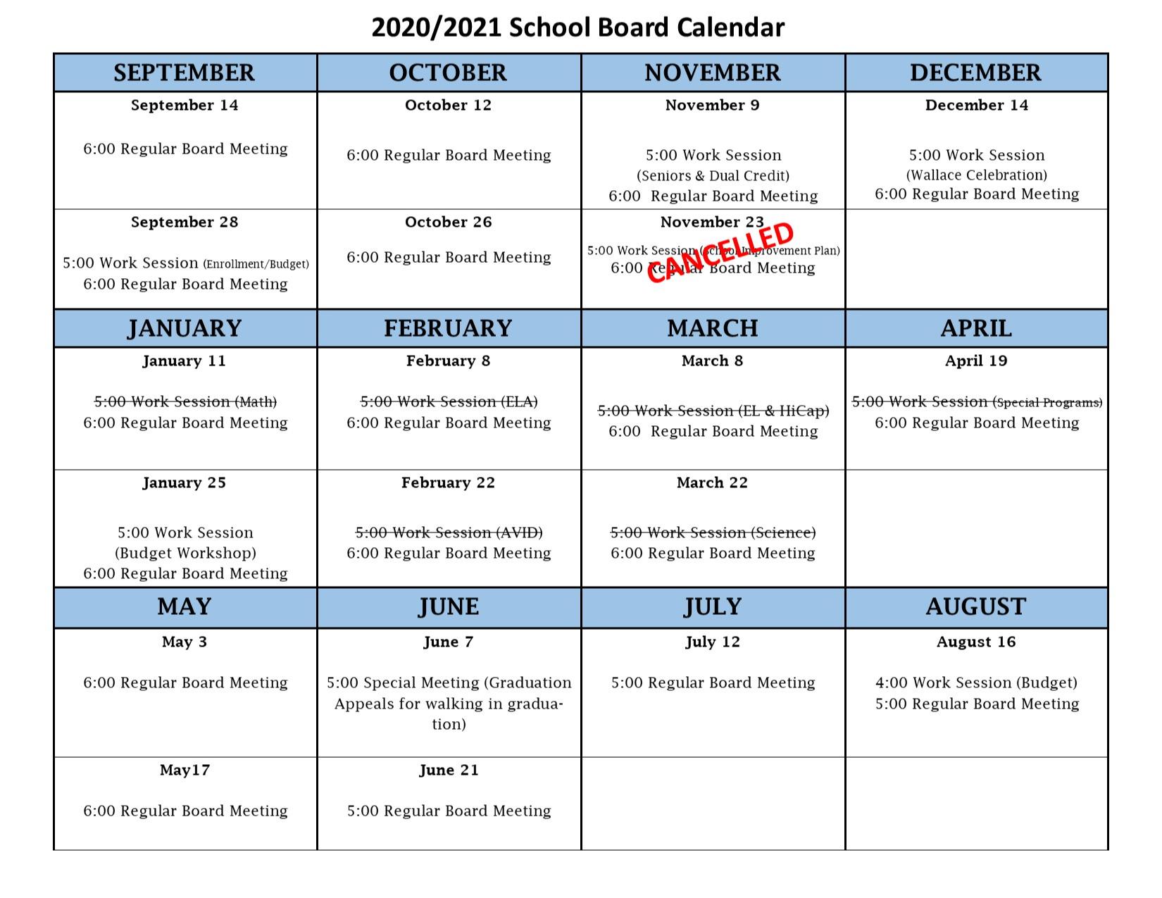 2020-21 Board Calendar