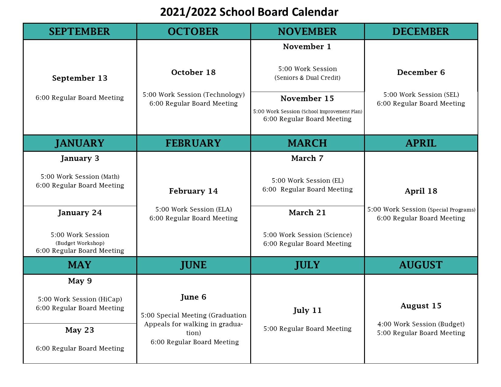 2021-2022 Board Meeting Calendar