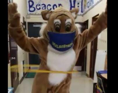 Bobcat mascot hula hooping
