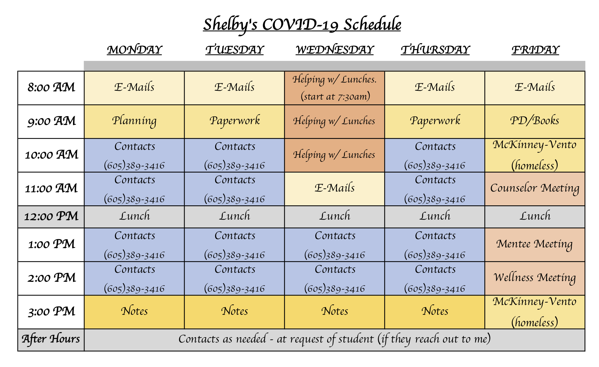 SHELBY'S COVID-19 SCHEDULE