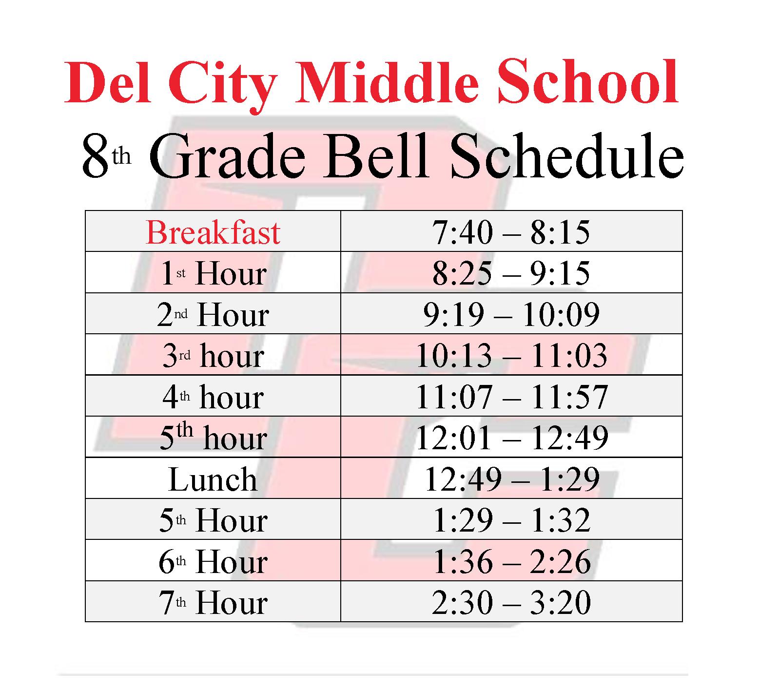 8th Grade Bell Schedule