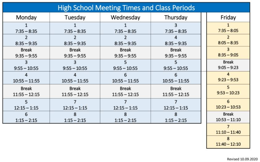 Distance Leaning Schedule