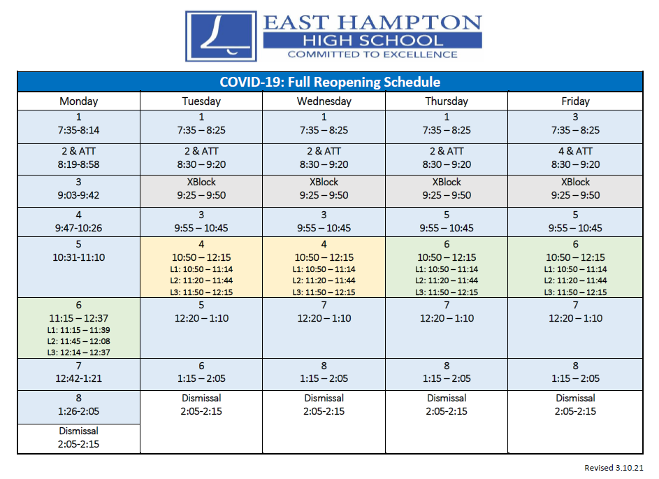 Full Re-opening Schedule as of 4/19/21