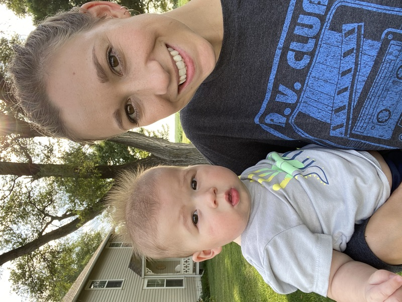 Mrs. Hiebert, HHS Counselor (pictured with her excuse for being late, Wyatt)