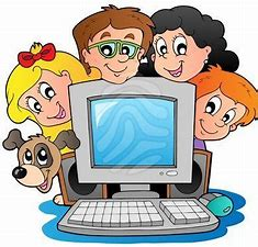 Drawing of students around computer