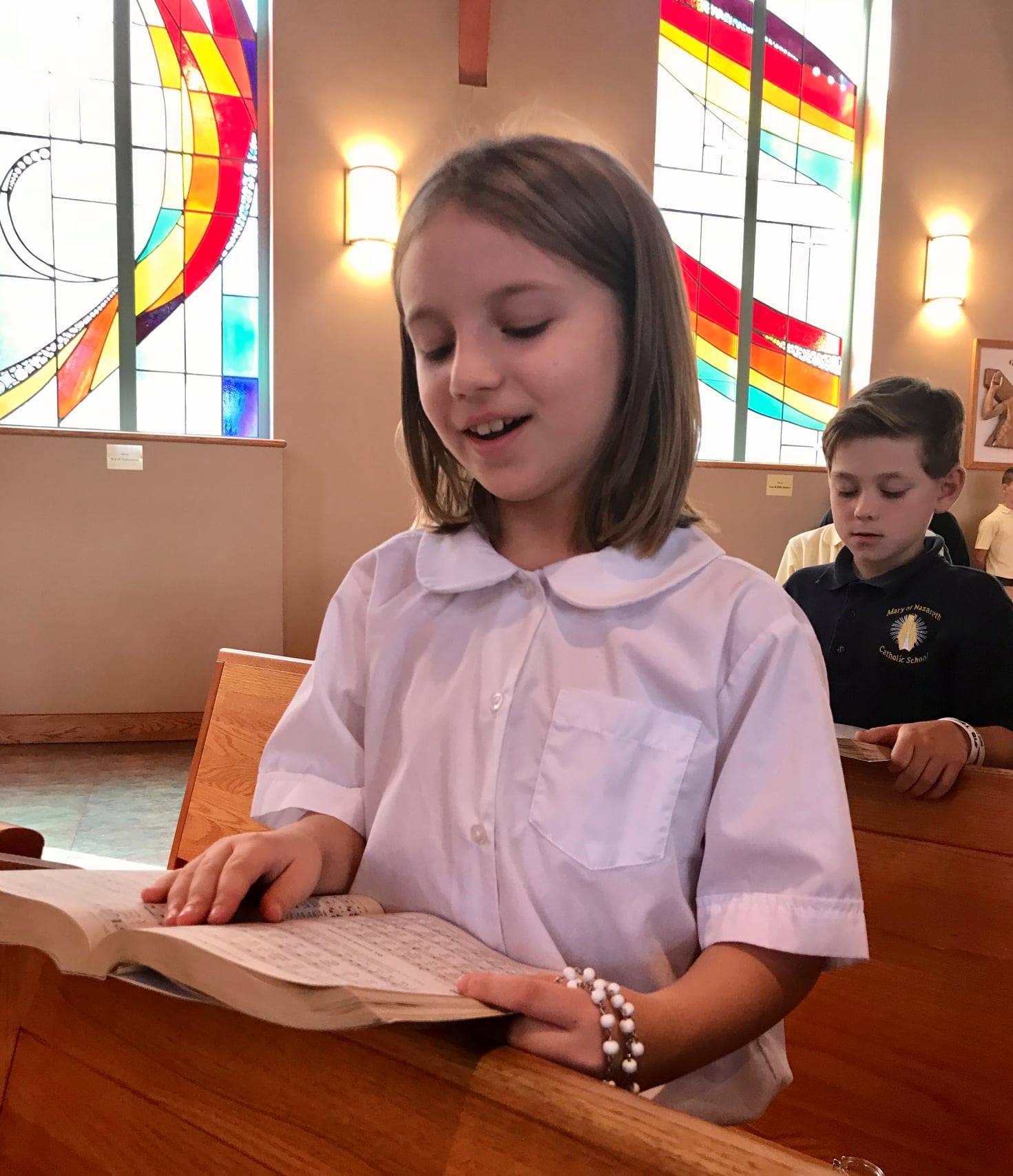 Photo of a student in the church.