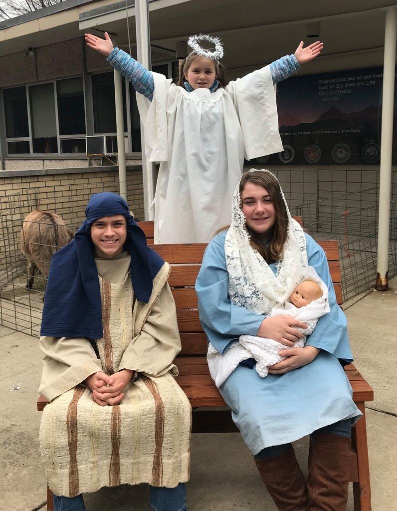 Photo of kids representing the Nativity of Jesus.
