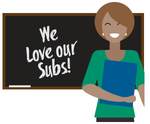 Picture of chalkboard saying We Love Our Subs