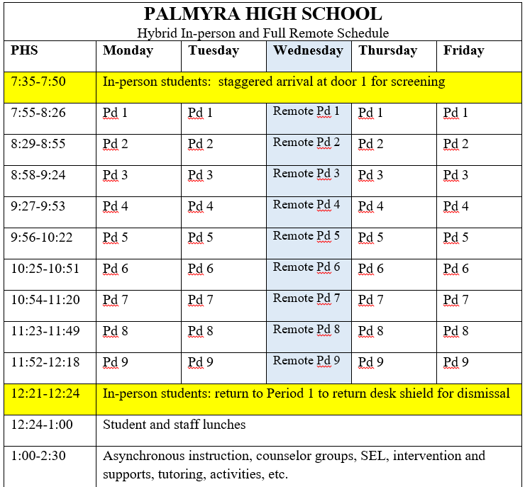 High School Schedule sheet as of 4-20-21