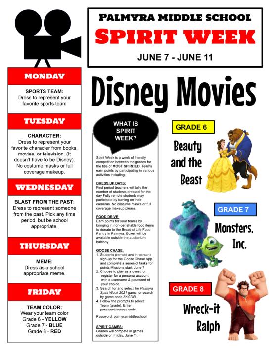 Middle School Spirit Week Guide