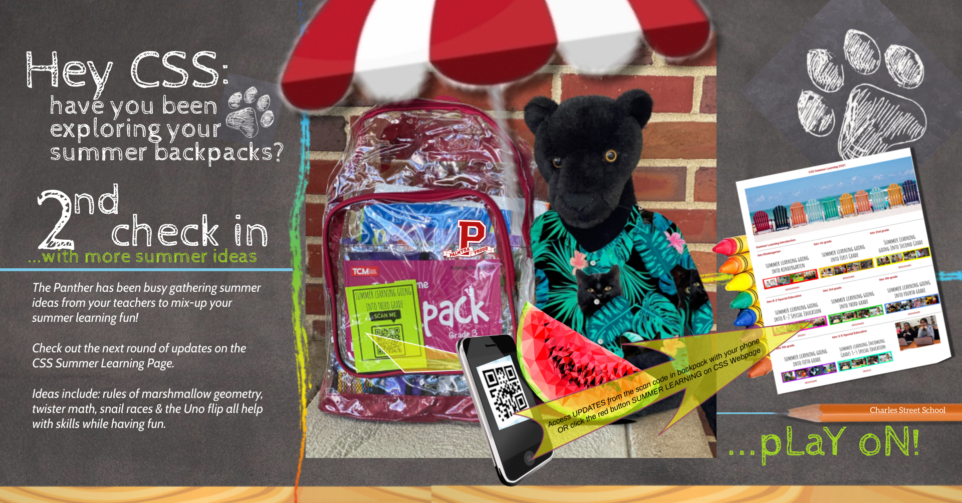 #2 Update to Summer Learning- Panther with watermelon