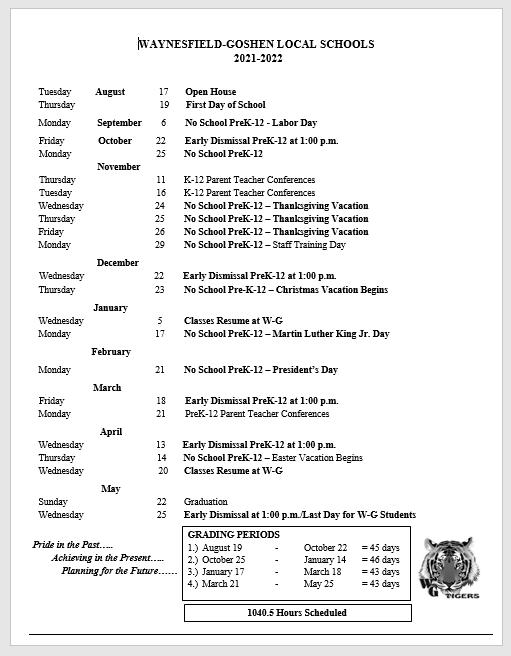 Bgsu Calendar 2022.2021 2022 School Calendar Waynesfield Goshen Local Schools