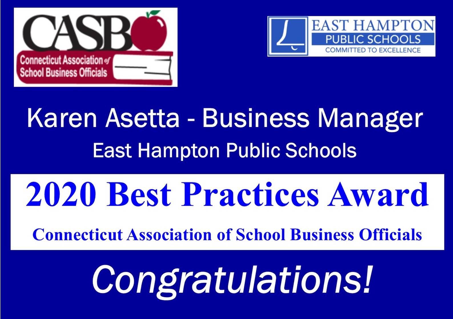 Karen Asetta - Business Manager East Hampton Public Schools