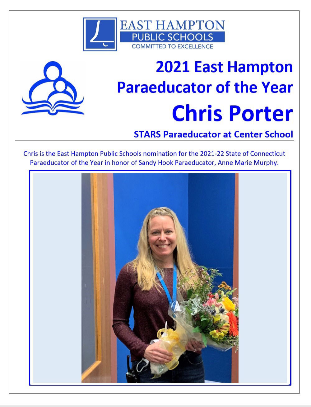 Photo of Paraeducator of the Year, Melody Philhower