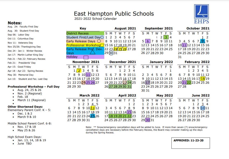East Hampton Public Schools, 2021-2022 School Calendar