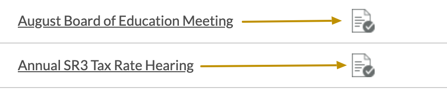 screenshot of meeting listing and minutes icon