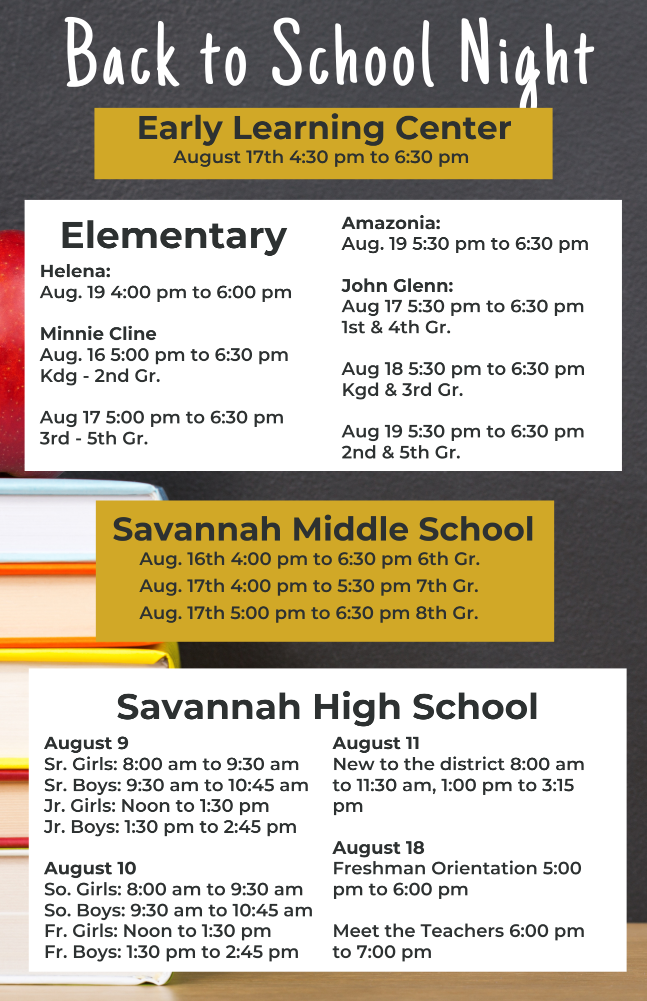 Back to school night open house flyer