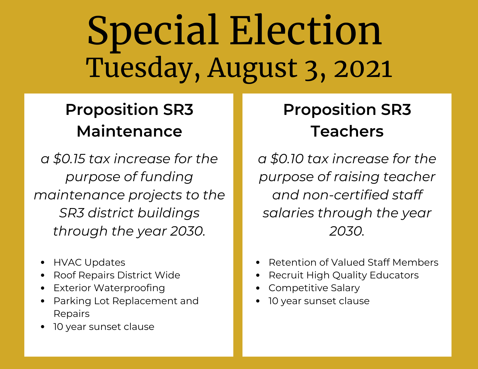 Special Election Tuesday, August 3, 2021
