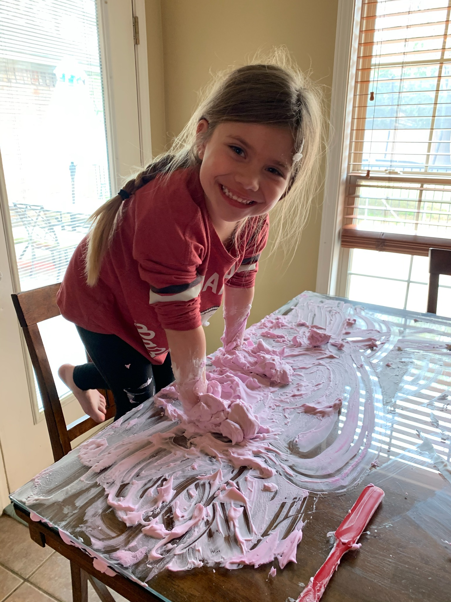 Here is a fun sensory (and writing!) preschool activity - you might have the materials on hand: Spread a little shaving cream on the table, and encourage writing letters, a name, or just drawing. This one has it all: it cleans the table and smells great as bonuses! Supervision needed.