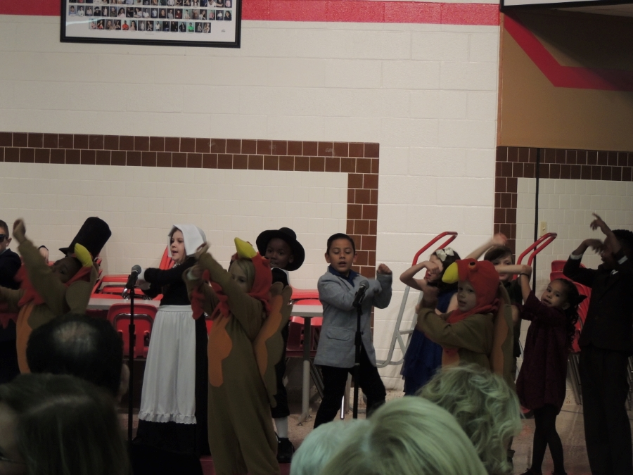 Debbie Miller's music students provided the entertainment with a play about Thanksgiving