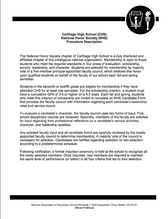 Carthage High School, National Honor Society