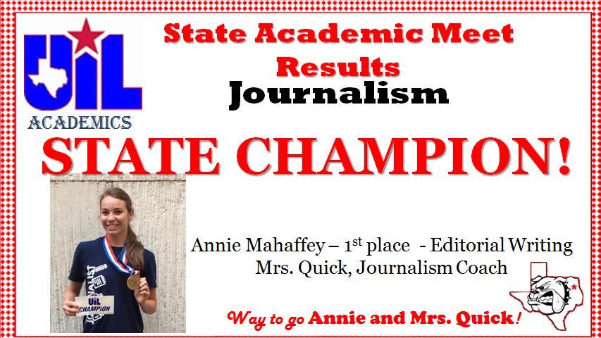 Journalism State Champion!