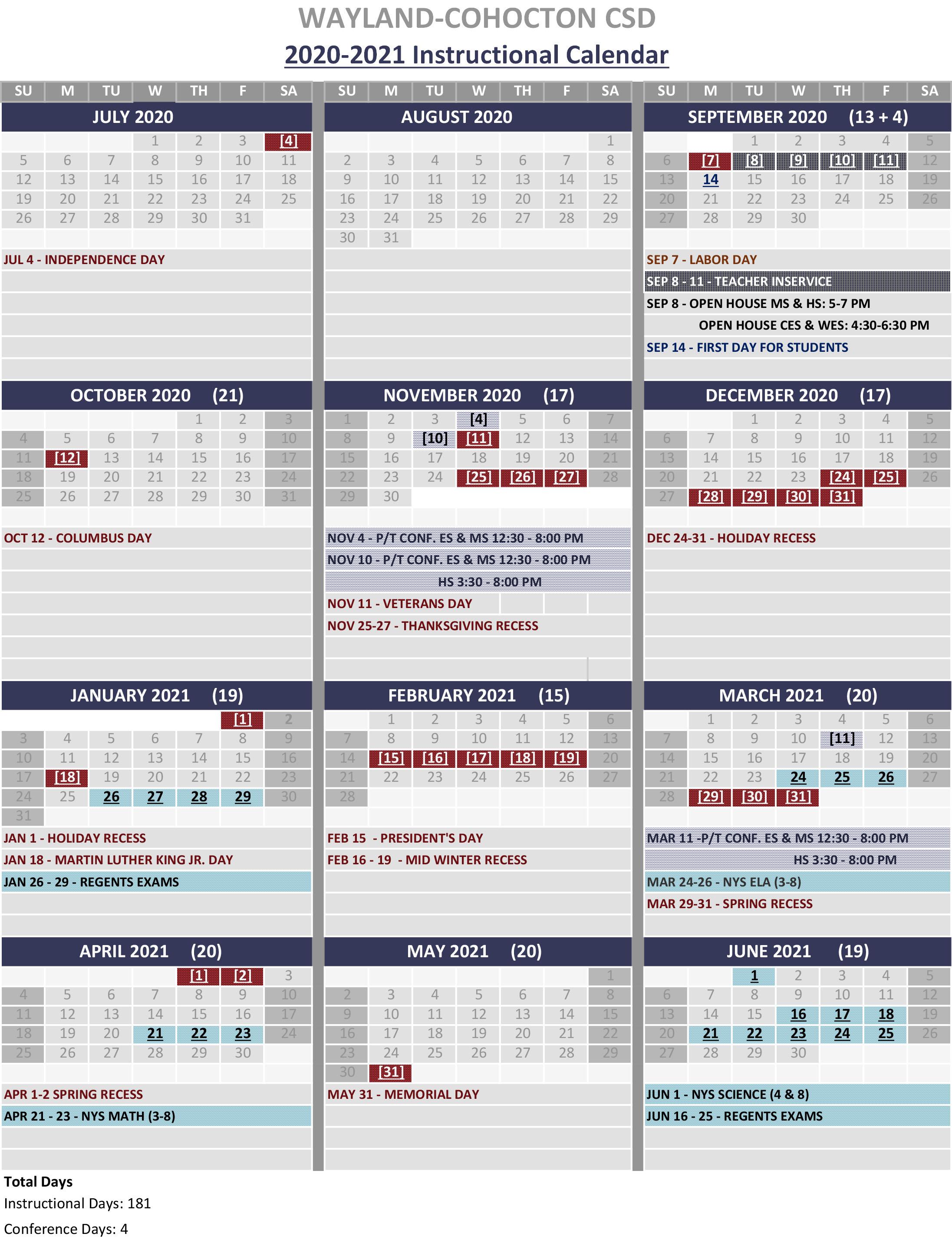 2020 - 2021 Instructional Calendar
