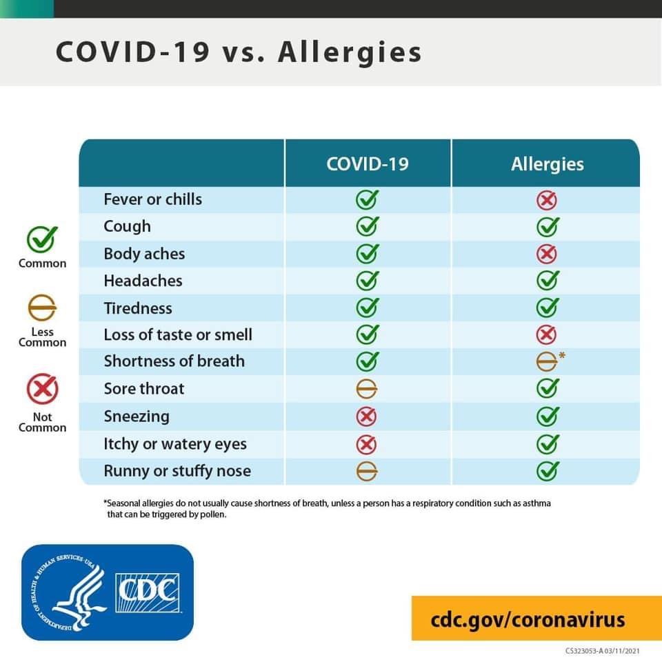 covid vs allergies